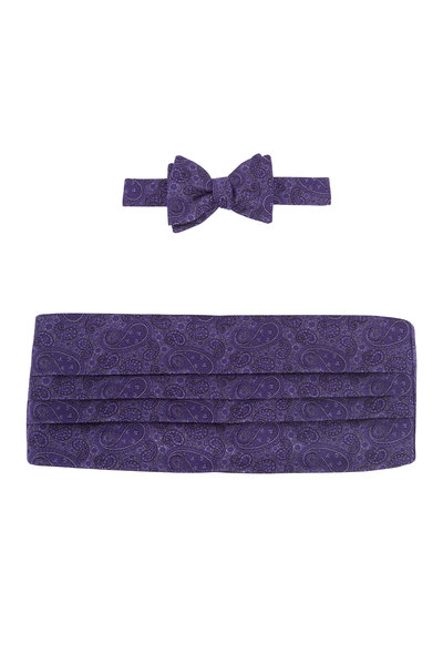 Carrot & Gibbs - Purple Paisley Silk Pre-Tied Cummerbund Set