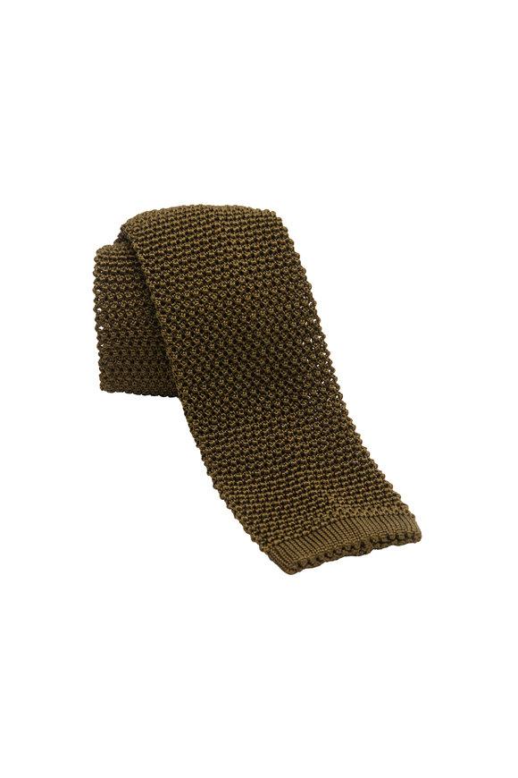 Charvet Olive Green Silk Knit Necktie