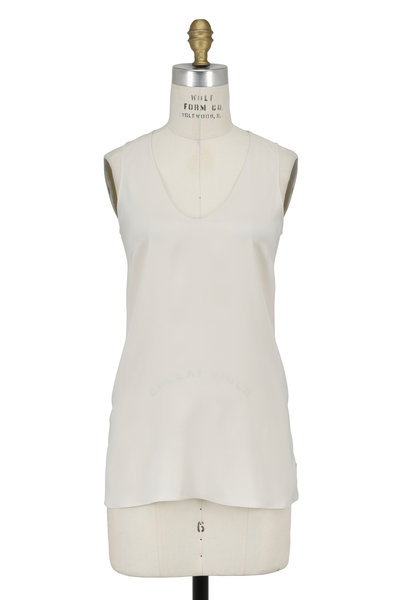 Brunello Cucinelli - Vanilla Stretch Silk Sleeveless Top
