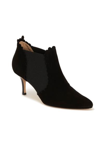 Oscar de la Renta - Black Ankle Scallop Trim Boots