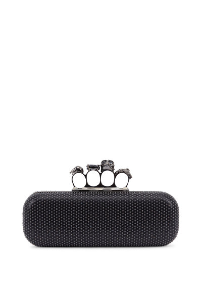 Alexander McQueen - Black Studded Leather 'Knuckleduster' Box Clutch