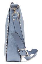 Valentino Garavani - Rockstud Sky Blue Grained Leather Hobo Crossbody