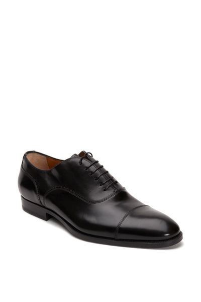 Santoni - Quentin Black Leather Cap-Toe Oxford