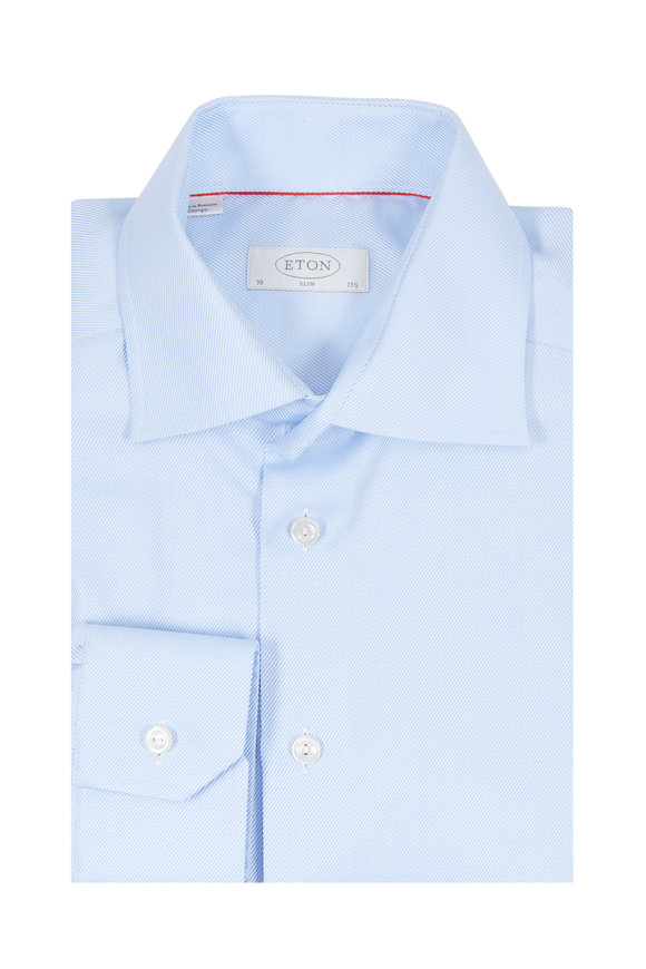 Eton Light Blue Twill Slim Fit Dress Shirt