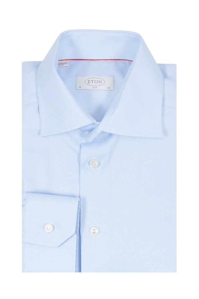 Light Blue Twill Slim Fit Dress Shirt