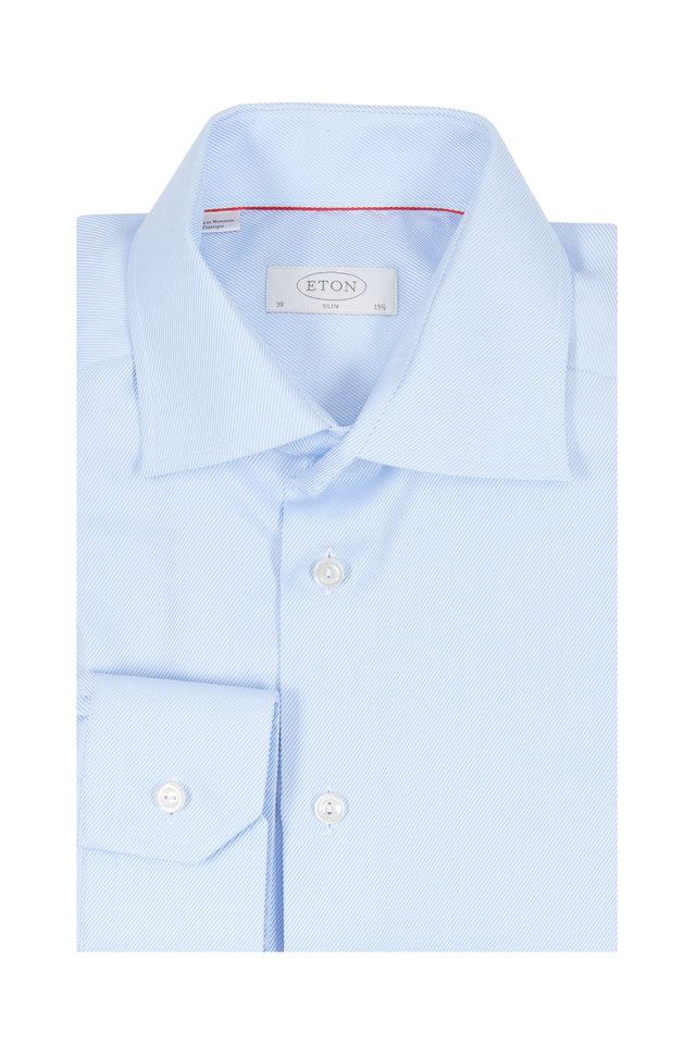Light Blue Twill Slim Fit Dress Shirt