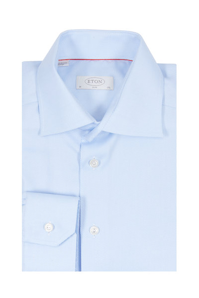 Eton - Light Blue Twill Slim Fit Dress Shirt