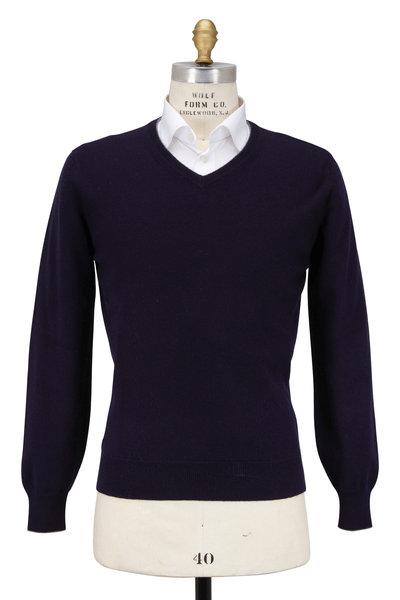 Brunello Cucinelli - Navy Blue Cashmere V-Neck Sweater