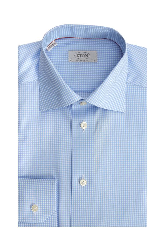 Light Blue Check Contemporary Dress Shirt