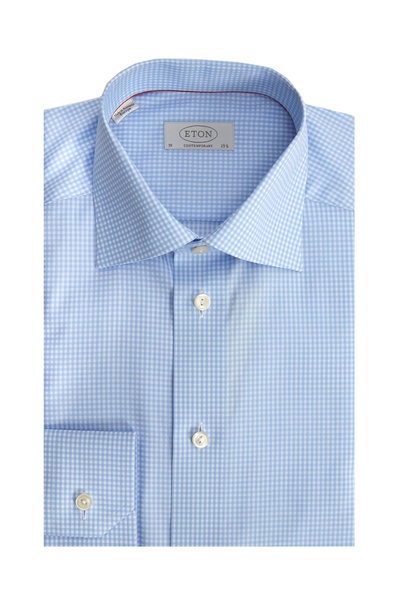 Eton - Light Blue Check Contemporary Dress Shirt