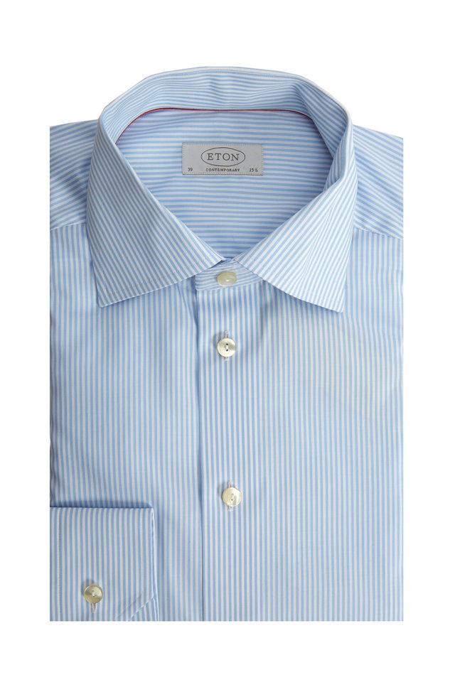 Light Blue Striped Contemporary Dress Shirt
