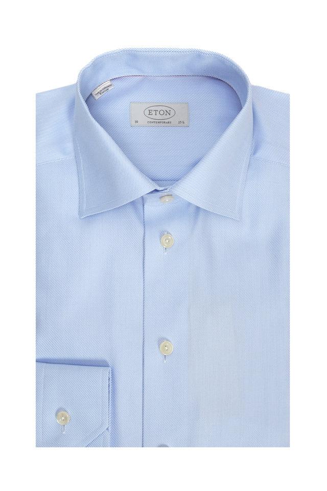 Blue Cotton Twill Contemporary Dress Shirt