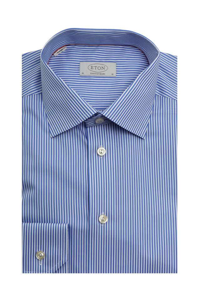 Blue Striped Contemporary Fit Dress Shirt