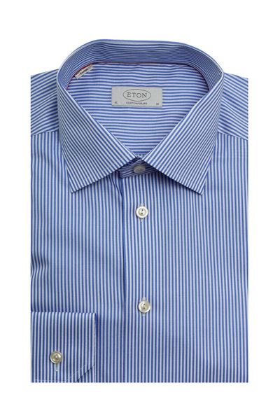 Eton - Blue Striped Contemporary Fit Dress Shirt