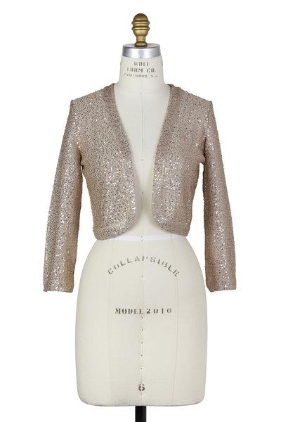 Oscar de la Renta - Gold Sequin Silk Shrug