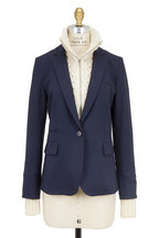 Veronica Beard - Navy Blue Wool Blazer With Upstate Knit Dickey