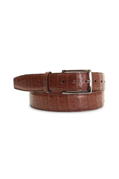 Torino - Cognac Crocodile Tail Belt
