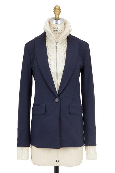 Veronica Beard - Navy Blue Wool Long & Lean Blazer & Upstate Dickey