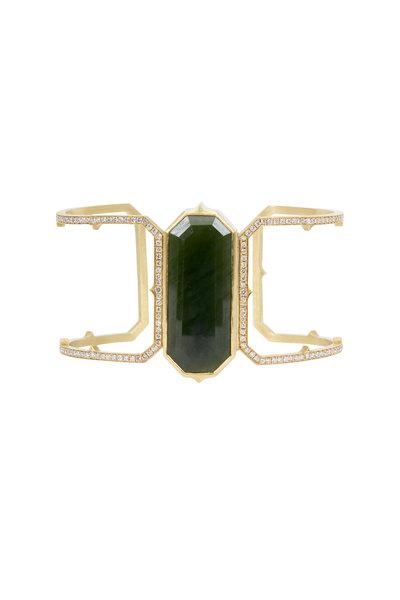 Sylva & Cie - Yellow Gold Nephrite Jade Diamond Cuff Bracelet