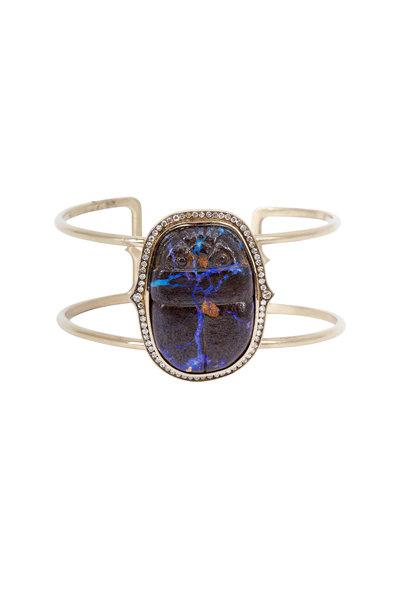 Sylva & Cie - White Gold White Diamond Opal Scarab Cuff Bracelet
