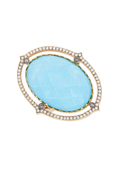 Sylva & Cie - Gold & Silver Turquoise Diamond Cocktail Ring