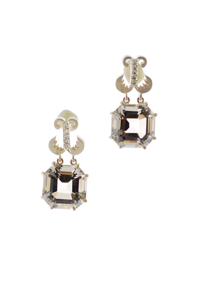 Sylva & Cie - Rose Gold Smoky Topaz Diamond Dangle Earrings