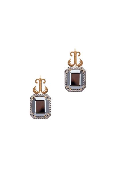 Sylva & Cie - Gold & Silver Hematite Diamond Drop Earrings