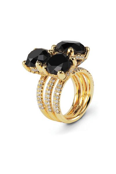 Sylva & Cie - Gold Triple Black & White Diamond Cocktail Ring
