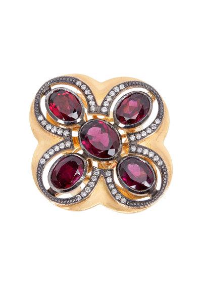 Sylva & Cie - Yellow Gold Rhodolite Garnet Diamond Cocktail Ring