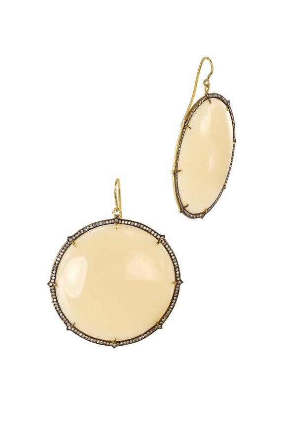 Sylva & Cie Yellow Gold Bakelite Diamond Dangle Earrings