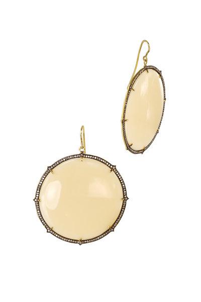 Sylva & Cie - Yellow Gold Bakelite Diamond Dangle Earrings