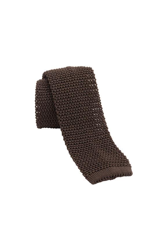 Charvet Chocolate Silk Knit Necktie