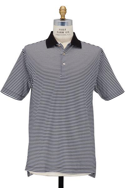 Peter Millar - Newberry Lisle Black & White Striped Cotton Polo