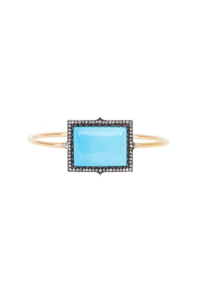 Sylva & Cie - Gold & Silver Turquoise Diamond Cuff Bracelet