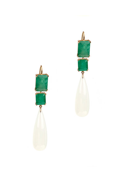 Sylva & Cie - Yellow Gold Emerald & Chalcedony Drop Earrings