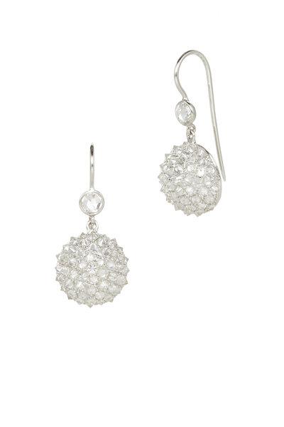 Nam Cho - White Gold Ice Diamond Half Ball Earrings