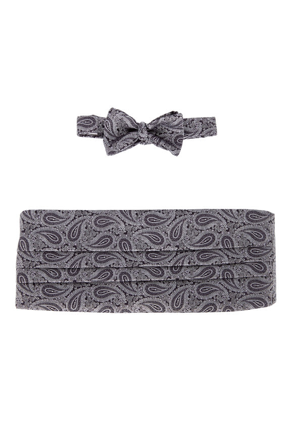 Carrot & Gibbs Black & White Paisley Cummerbund Set