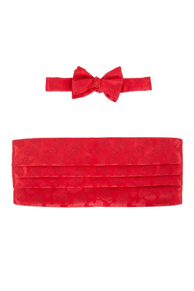 Red Paisley Silk Cummerbund Set
