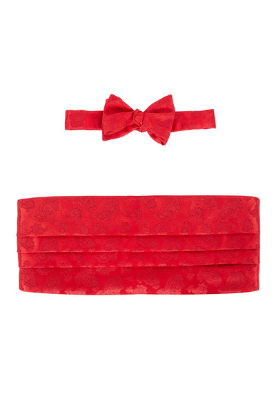 Carrot & Gibbs - Red Paisley Silk Cummerbund Set