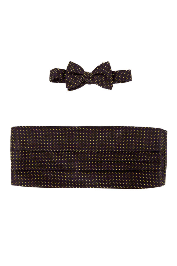 Carrot & Gibbs Black & Gold Dot Silk Cummerbund Set