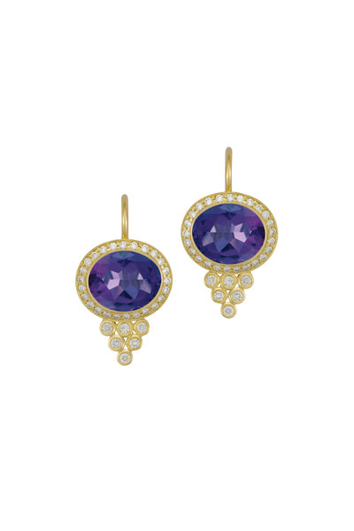 Temple St. Clair - Gold Tanzanite Diamond Halo Pyramid Earrings