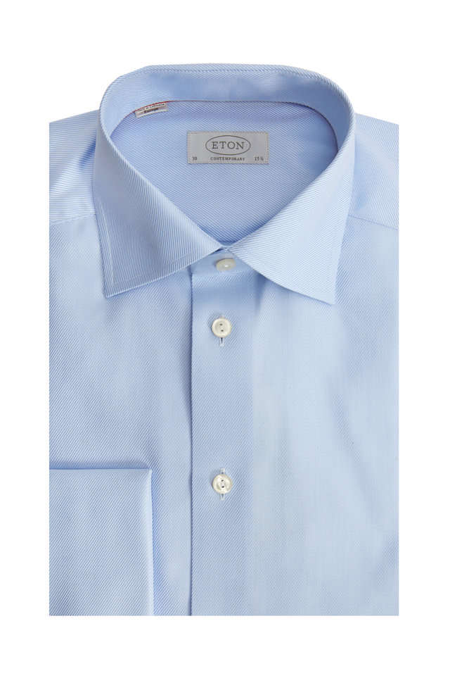Blue French Cuff Contemporary Fit Dress Shirt