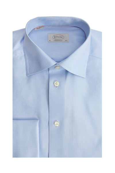 Eton - Blue French Cuff Contemporary Fit Dress Shirt
