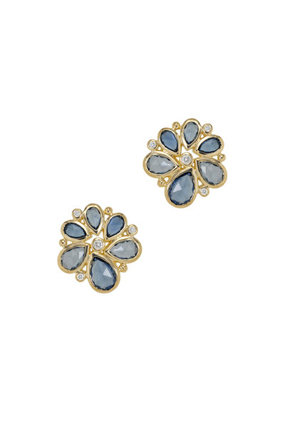 Temple St. Clair - Gold Blue Sapphire Diamond Spiral Cluster Earrings