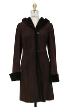 Viktoria Stass - Ebony Brown Shearling Hooded Coat