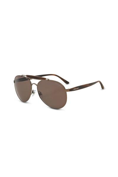 Armani Sunglasses - Frames of Life Brown Horn Aviator Sunglasses