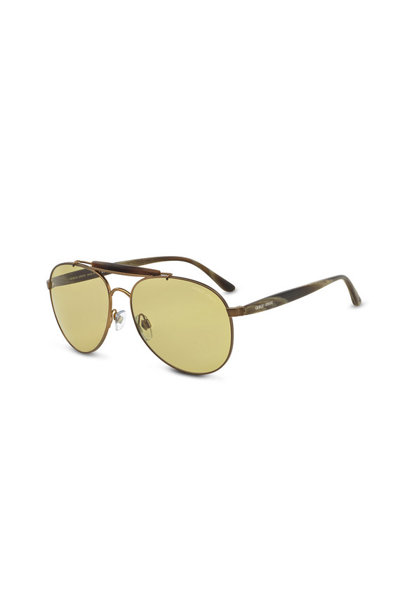 Armani Sunglasses Frames of Life Green Horn Aviator Sunglasses