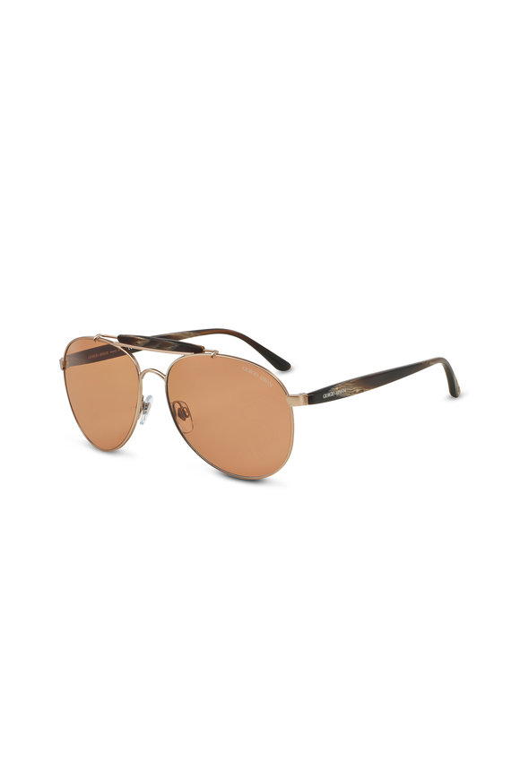 Armani Sunglasses Frames of Life Brown Horn Aviator Sunglasses
