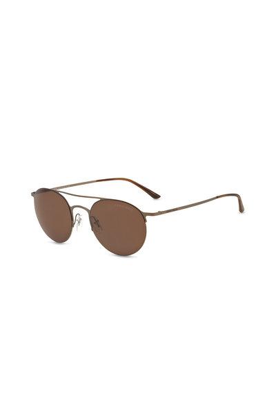 Armani Sunglasses - Luxury Matte Brown Round Sunglasses