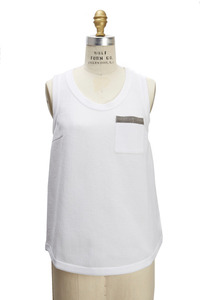 Brunello Cucinelli - White Felpa Monili Tank Top